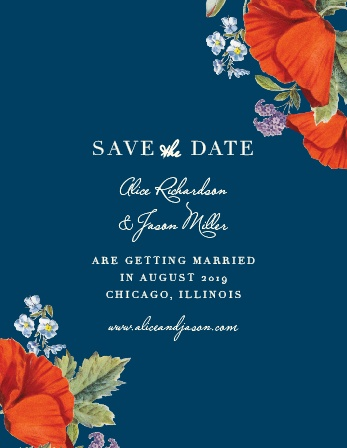 Your guests will be sure to mark their calendars with your wedding date once they receive a gorgeous Heliotrope Blooms Save-the-Date Magnet.