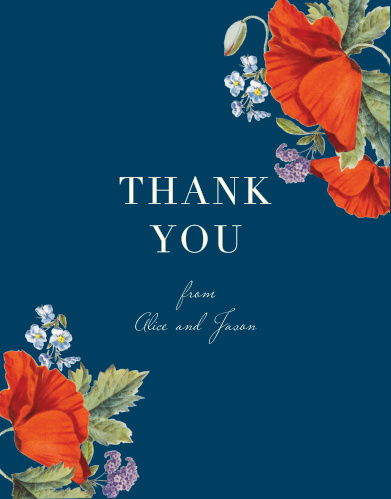 Your message of appreciation is bold and bright white against the deep blue background of our Heliotrope Blooms Wedding Thank You Cards, with your names written in a subtle script below.