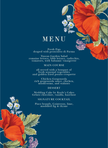 Our Heliotrope Blooms Wedding Menus are nearly as delectable as the food you'll offer on them. Resplendent with a duo of florals, a deep blue background, and clean white text, these cards ensure that your guests know precisely what's on their plate.