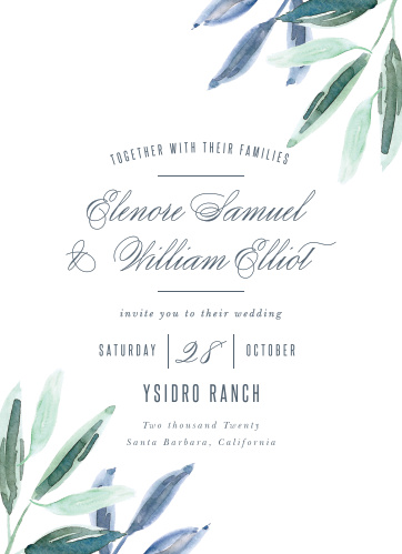 For a perfectly peaceful card, send out a collection of our Olive Leaves Wedding Invitations.