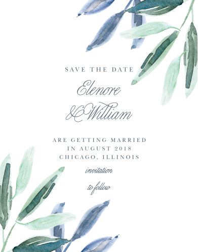 Guarantee that your guests mark their calendars well in advance of your wedding with our gorgeous Olive Leaves Save-the-Date Cards.