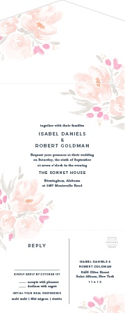 Watercolor painting and beautiful flowers meet in the fantastic Watercolor Bouquet Seal & Send Wedding Invitations.