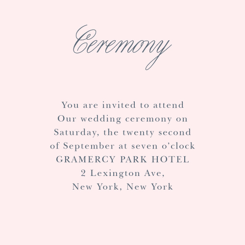 Make sure your guests know the ceremony details using the Melodious Melanie Ceremony Cards.