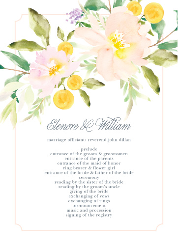 Let your guest know what to expect at your wedding using the Melodious Melanie Wedding Programs.