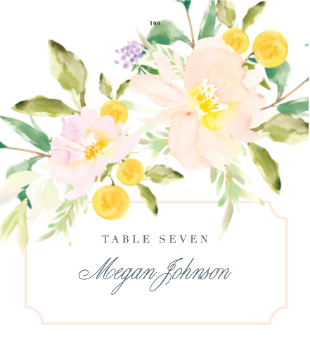 Personalize the Melodious Melanie Place Cards colors and fonts to coordinate with your wedding theme.