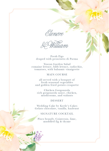 Let your guest know what they can eat at your wedding using the Melodious Melanie Wedding Menus.