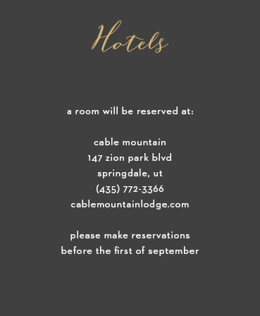 Nothing is more classic than the black, gold, and white color scheme of our Fleur Foil Accommodation Cards.