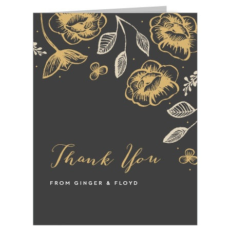 A beautiful, lilting calligraphy titles our Fleur Foil Thank You Cards, shining just above your names and saying everything you need to.