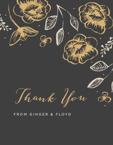 A beautiful, lilting calligraphy titles our Fleur Magnifique Foil Thank You Cards, shining just above your names and saying everything you need to.
