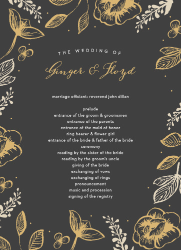 Guide your guests through each moment of your carefully choreographed wedding with our gorgeous Fleur Magnifique Foil Wedding Programs.
