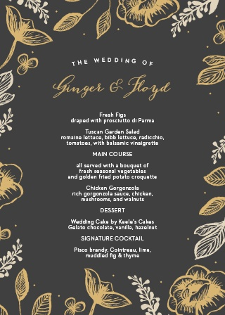 Use the simplicity and elegance of our Fleur Foil Wedding Menus to list off each of your guests' meal options.