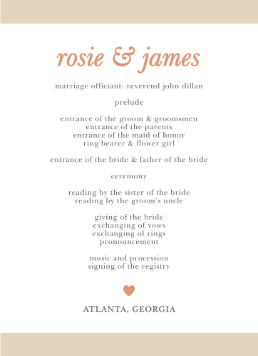 With the Sophisticated Shimmer Foil Wedding Programs add your ceremony schedule to the front of this design in the font of your choice.