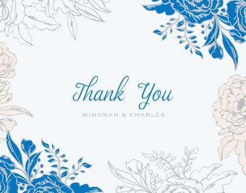 Make sure your guests know how much you appreciate them using the Peony Draped Wedding Thank You Cards.