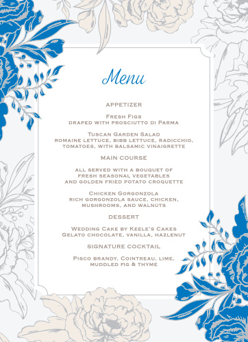 Let your guest know what they can eat at your wedding using the Peony Draped Wedding Menus.