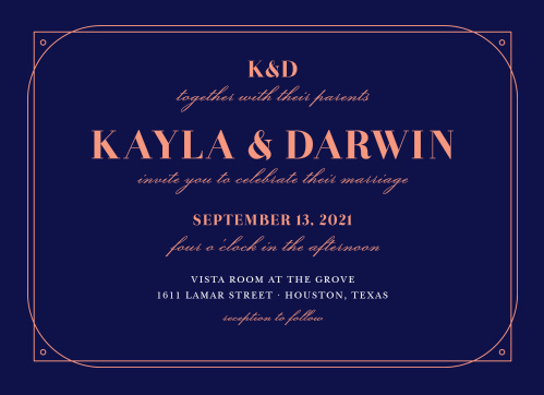For the couple who are as modern as they are elegant-- our Royal and Rose Wedding Invitations reflect this with a double geometric border, a sophisticated mix of fonts, and a breathtaking color contrast.