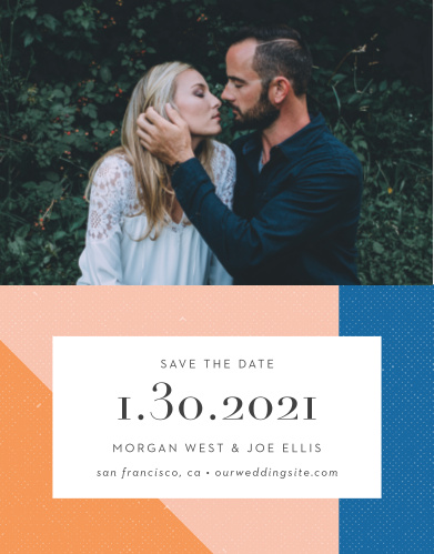 With our beautifully designed Angular Color Save-the-Date Cards, you can be positive that your friends and family mark their calendars well in advance of your special day.