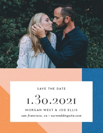 With our beautifully designed Angular Color Save-the-Date Magnets, you can be positive that your friends and family mark their calendars well in advance of your special day.