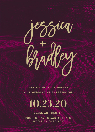 Against a vibrant, textured background in various shades of pink and purple, the bright pseudo-gold text of our Lipstick & Louvre Wedding Invitations shines in sharp relief.