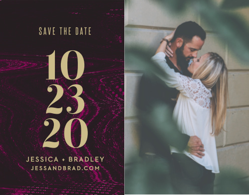Our Lipstick & Louvre Save-the-Date Cards split the design between the beautiful, vibrant coloration of the rest of the suite and a breathtaking photo of the two of you.