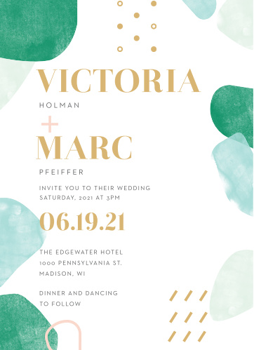 Our stunning Sea Breeze Collage Wedding Invitations are awash in soft blues and gentle greens, framed by your names and wedding date in a bold, shining gold-foil.