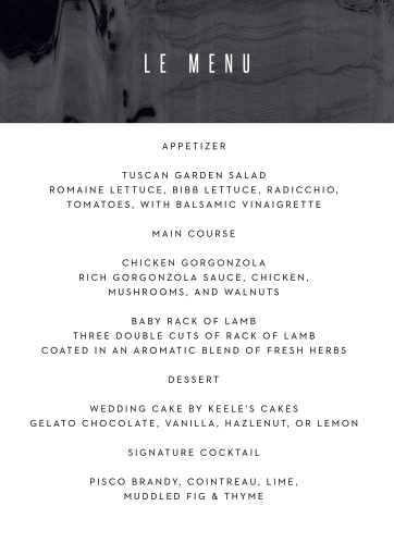 No matter what their meal options are, your guests will love these stunning Museum Muse Wedding Menus.