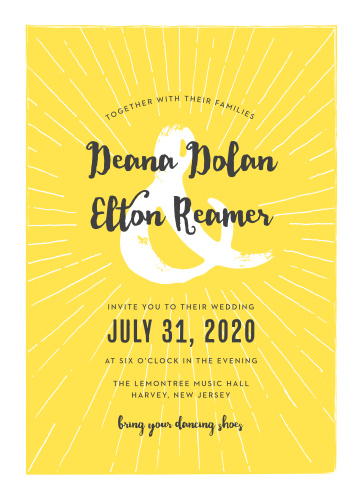 Bright yellow and as full of life as your wedding party, Big Ampersand Wedding Invitations utilize a duo of typefaces- a clear print and an artful calligraphy- to convey all of your wedding details.