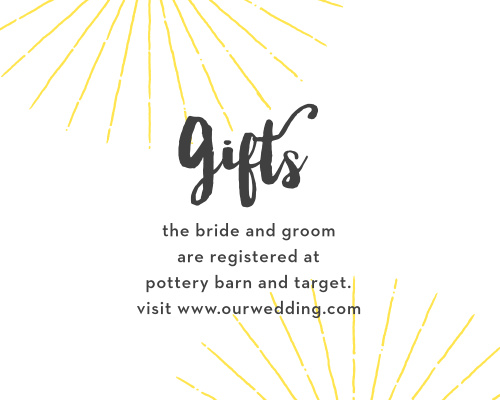 Yellow starbursts decorate the top and bottom of our gorgeous Big Ampersand Registry Cards, drawing your guests' eyes to the detail they need: the location of your registry.