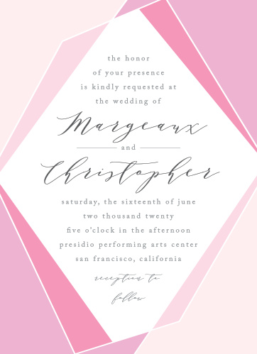 Our Playful Lines Wedding Invitations are a collection of subtle pinks, soft calligraphy, and just a few sparing hard lines to add a touch of shape and form to your card.