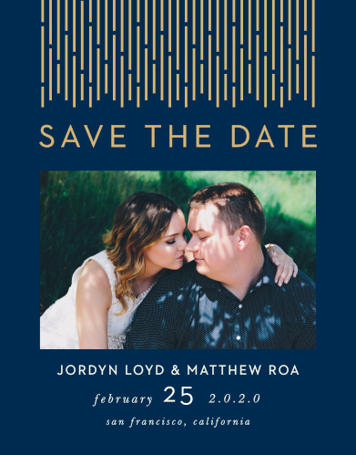 Our Lovely Lines Wedding Save-the-Date Cards are a flashy yet subtle take on the retro designs of the 1920s.