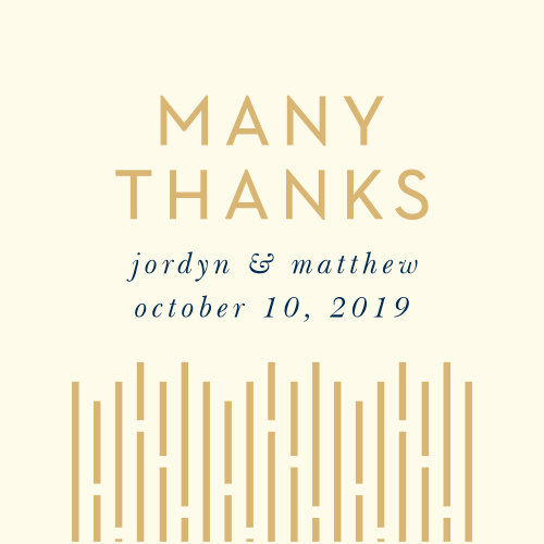 The Lovely Lines Wedding Stickers feature long, gold foiled lines that ascend upon your details, atop a cream colored background.