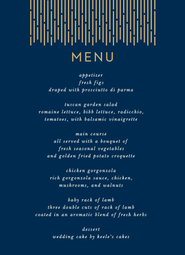 Our Lovely Lines Wedding Menus are a flashy yet subtle take on the retro designs of the 1920s.