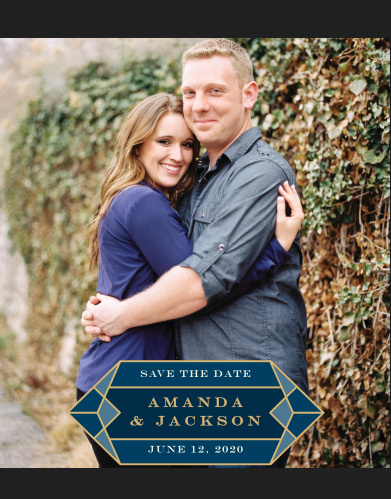 Our Gem Prism Save-the-Date Cards strive to keep the focus on the two of you as a happy couple: your favorite engagement photo serves as the background for the card, while a resplendent gemstone decorates the bottom of the card and contains all of your wedding details for your guests.