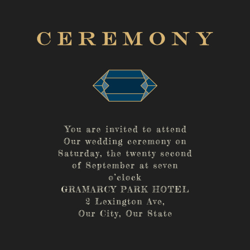 Gem Prism Ceremony Cards are perfect for the smaller, more intimate ceremony that you've always wanted.