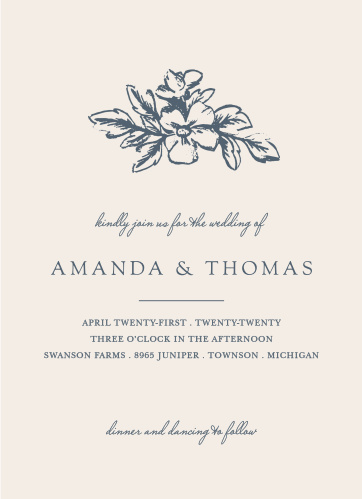 Our Soft Morning Wedding Invitations are designed to be the ideal first look at your wedding; they are stunningly simple, featuring only two colors- classic blue designs and text, and a deep cream background- so that their recipients' focus remains ever on your names and the details of your wedding.