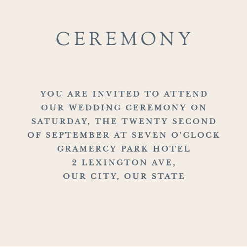 Shockingly simple and incredibly practical, our Soft Morning Ceremony Cards ensure that you spend your wedding day surrounded by the people you love most.