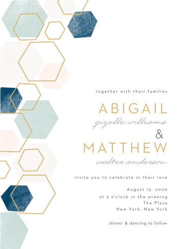 A geometric pattern in pink and blue hues with some gold hexagon outlines graces the left side of this invitation.