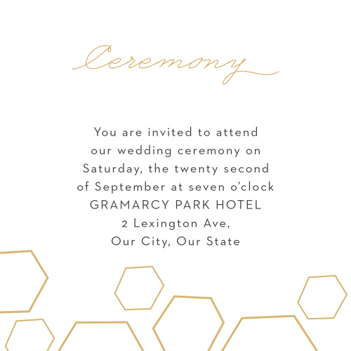 Our Geometric Watercolor Ceremony Cards utilize the same gorgeous design and color scheme as several other cards in the Geometric Watercolor wedding suite.