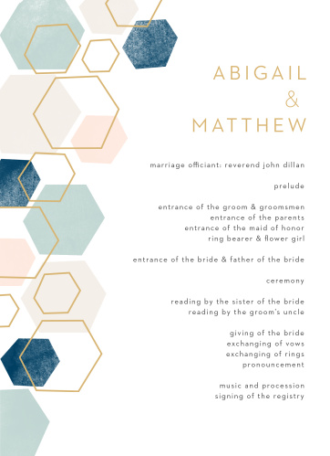 Geometric Watercolor Wedding Programs are the perfect choice for ensuring that your guests can follow along with the moments and members of your wedding ceremony.