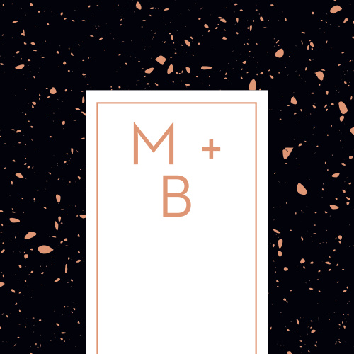With your initials written in a sharp, elegant typeface and surrounded by a rich-black background covered in splotches of rose-gold foil, our shining Painted Book Wedding Stickers will quickly become the symbol of your wedding day.
