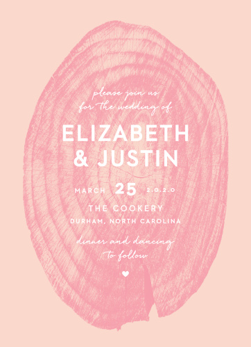 Our Wooden Love Wedding Invitations feature an intricate and semi-transparent, pomegranate colored wooden stump atop a ballet colored background.