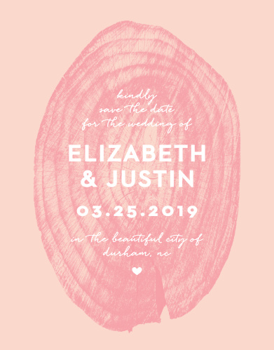 Our Wooden Love Save-the-Date Cards feature an intricate and semi-transparent, pomegranate colored wooden stump atop a ballet colored background.