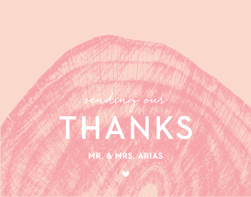 Our Wooden Love Wedding Thank You Cards feature an intricate and semi-transparent, pomegranate colored wooden stump atop a ballet colored background.
