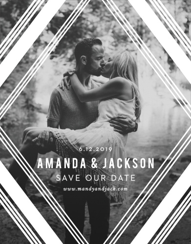 Our Diamond Reflections Save the Date Cards feature a bold and vintage frame of diamonds overlaying your engagement photo.