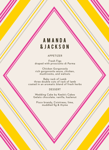 Our Diamond Reflections Wedding Menus are vintage in both design and coloring.