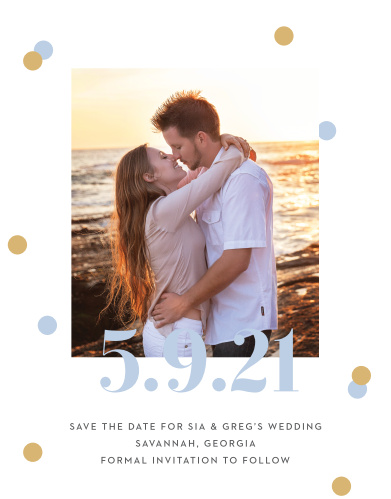 Give your guests the information they need to mark their calendars well in advance with our Confetti Overlap Save-the-Date Cards.