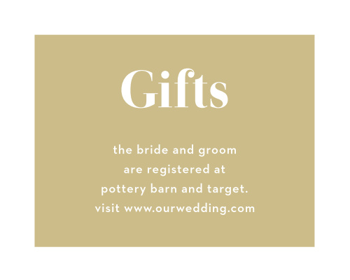 In a reversed style from the other cards in our Confetti Overlap wedding suite, the Confetti Overlap Registry Cards feature a golden background and white text that cuts through it with your registry details. Ensure that your guests know what you and your partner want and need to start your new life off on the right foot!