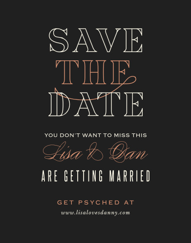 Give your guests all of the information they need well in advance of your wedding with our stunning Diamond Debauchery Save-the-Date Cards.