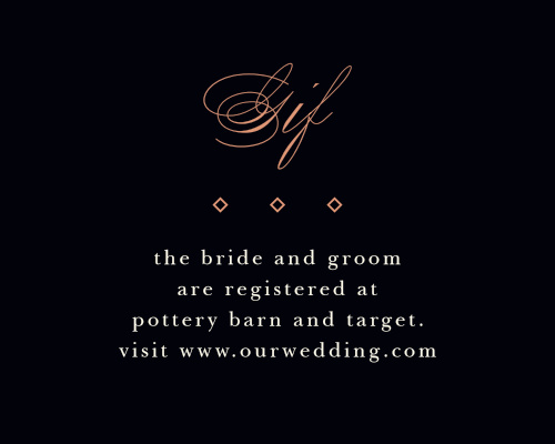 Guide your guests to the location of your wedding registry with our Diamond Debauchery Registry Cards.