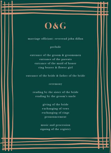 Our Doodle Border Wedding Programs utilize the same gorgeous design and color scheme as several other cards in the Doodle Border wedding suite.
