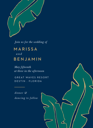 Let the Green Breeze Wedding Invitations take you to the tropics with illustrated palm fronds cascading across the front of the design